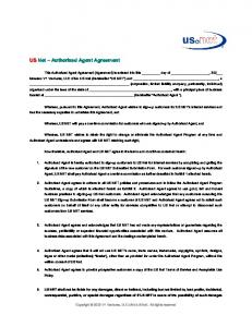 US Net Authorized Agent Agreement