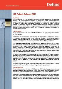 US Patent Reform 2011