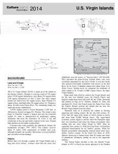 U.S. Virgin Islands. CultureGrams BACKGROUND. World Edition