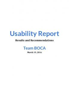 Usability Report. Results and Recommendations. Team BOCA