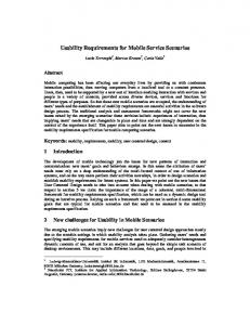 Usability Requirements for Mobile Service Scenarios