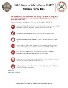 USAG Bavaria Safety Gram Holiday Party Tips