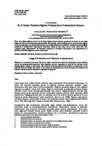 Usage of Probiotics and Prebiotics in Aquaculture
