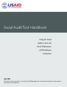 USAID Social Audit Tool Handbook
