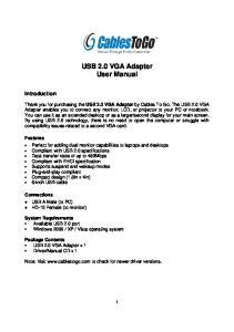 USB 2.0 VGA Adapter User Manual