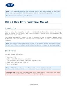 USB 3.0 Hard Drive Family User Manual