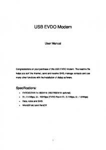 USB EVDO Modem. User Manual