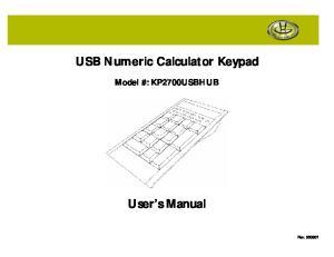 USB Numeric Calculator Keypad. User s Manual