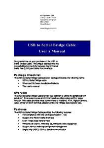 USB to Serial Bridge Cable User s Manual