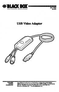 USB Video Adapter JULY 2000 IC167A CUSTOMER SUPPORT INFORMATION