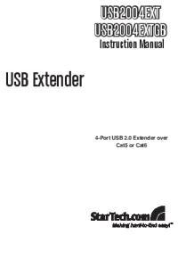 USB2004EXT USB2004EXTGB. Instruction Manual. USB Extender. 4-Port USB 2.0 Extender over Cat5 or Cat6