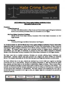 USCCR Illinois Hate Crimes against Religious Institutions Project: Information Gathered to Date
