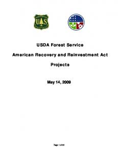 USDA Forest Service. American Recovery and Reinvestment Act. Projects