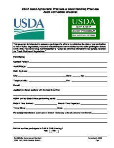 USDA Good Agricultural Practices & Good Handling Practices Audit Verification Checklist