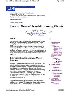 Use and Abuse of Reusable Learning Objects