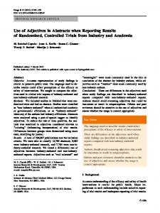 Use of Adjectives in Abstracts when Reporting Results of Randomized, Controlled Trials from Industry and Academia