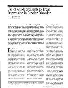 Use of Antidepressants to Treat Depression in Bipolar Disorder