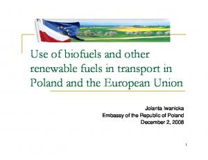 Use of biofuels and other renewable fuels in transport in Poland and the European Union