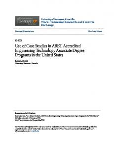 Use of Case Studies in ABET Accredited Engineering Technology Associate Degree Programs in the United States