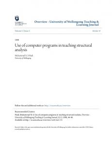 Use of computer programs in teaching structural analysis