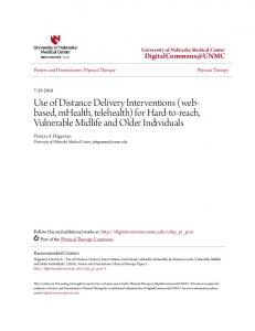 Use of Distance Delivery Interventions (webbased, mhealth, telehealth) for Hard-to-reach, Vulnerable Midlife and Older Individuals