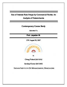 Use of Interest Rate Swaps by Commercial Banks: An Analysis of Determinants. Contemporary Course Study