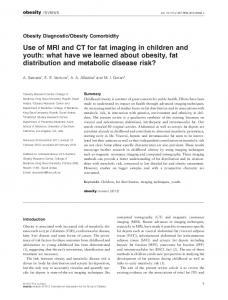 Use of MRI and CT for fat imaging in children and youth: what have we learned about obesity, fat distribution and metabolic disease risk?