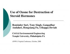 Use of Ozone for Destruction of Steroid Hormones
