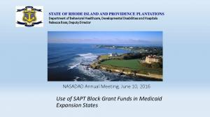 Use of SAPT Block Grant Funds in Medicaid Expansion States
