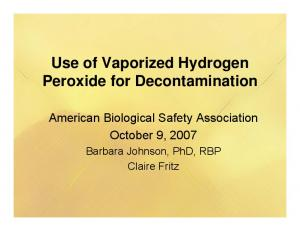 Use of Vaporized Hydrogen Peroxide for Decontamination