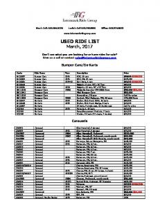 USED RIDE LIST March, 2017