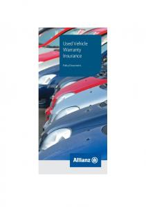 Used Vehicle Warranty Insurance. Policy Document