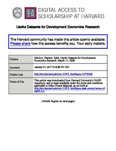 Useful Datasets for Development Economics Research