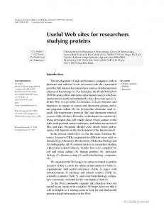 Useful Web sites for researchers studying proteins