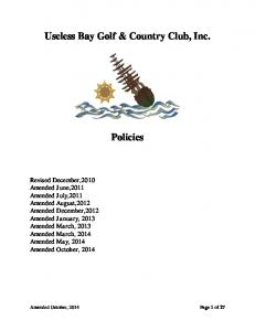 Useless Bay Golf & Country Club, Inc. Policies