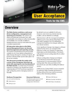 User Acceptance. Overview. Tests for the CMS