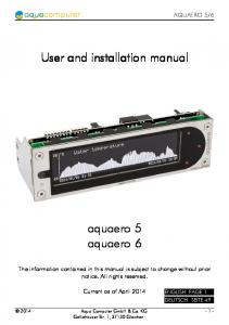 User and installation manual