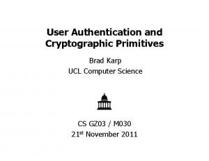 User Authentication and Cryptographic Primitives