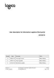 User description for Information Logistics Client portal