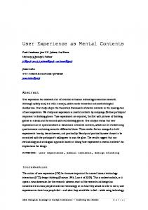 User Experience as Mental Contents