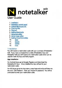 User Guide. 1.Installation