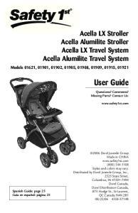 User Guide. Acella LX Stroller Acella Alumilite Stroller Acella LX Travel System Acella Alumilite Travel System