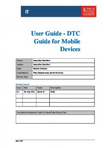User Guide - DTC Guide for Mobile Devices