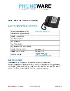 User Guide for Aastra IP Phones