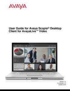 User Guide for Avaya Scopia Desktop Client for AvayaLive Video