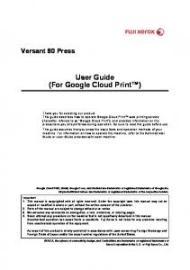 User Guide (For Google Cloud Print )
