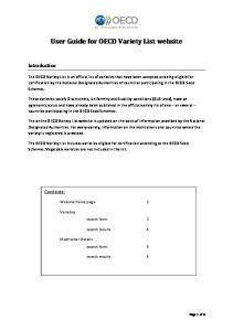User Guide for OECD Variety List website