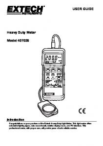 USER GUIDE. Heavy Duty Meter. Model Introduction