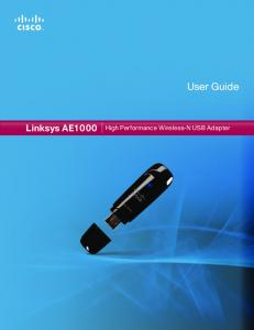 User Guide. Linksys AE1000 High Performance Wireless-N USB Adapter