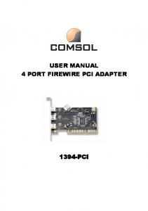 USER MANUAL 4 PORT FIREWIRE PCI ADAPTER